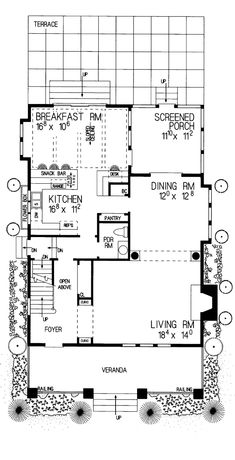 First Floor Plan of Bungalow   Craftsman   House Plan 95038