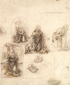 Page: Studies for a Nativity  Artist: Leonardo da Vinci  Place of Creation: Italy  Style: High Renaissance  Genre: sketch and study  Technique: ink  Material: paper  Dimensions: 7.6 x 6.38 cm  Gallery: Metropolitan Museum of Art, New York City