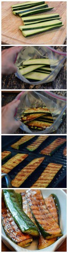 zucchini, 1/4 cup olive oil 1/4 balsamic vinegar 1/2 teaspoon sugar 1/2 teaspoon Italian sasoning fresh ground pepper