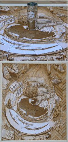 Amazing Anamorphic Art. Istvan Orosz Portrait of Edgar Allen Poe.