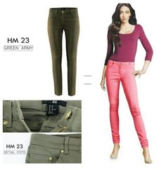 H&M twill touser IDR 150k green army & pink