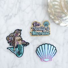 Mermaid Set - Mermaid - Shell - I'm Really a Mermaid - Iron On Patch - Patches - Embroidered Applique - Mermaid Hair - Pastel - Aqua - Metallic Gold - Wildflower + Co. - Main