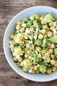 Avocado, feta chickpea salad