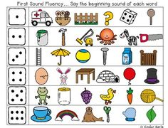 Free! First Sound Fluency....quick and easy game for first sound fluency. A student rolls a dice and reads the beginning sound of the pictures in the row