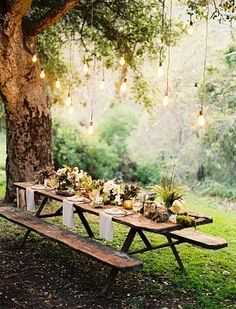 Beautiful table settings, summer picnic, hanging lights, picnic tables, company picnic, dinner parties, garden parties, backyard, outdoor weddings