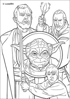 jedi knights and yoda coloring page - Printable Colouring Page