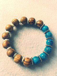 Bracelet H MEN homme perles noir doré or lion marron cadeau