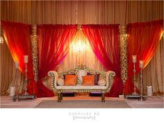 Indian Wedding at Westfields Marriott VA | Pink and Orange decor | Image by Sheaulee Ng Photography