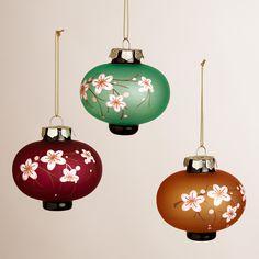 Glass Plum Blossom Lantern Ornaments, Set of 3   World Market