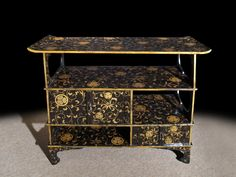 Meiji Period Lacquer Side Cabinet. Japanese Circa 1880