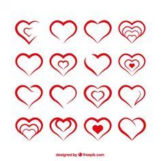 Formas do coração Vetor grátis