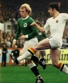 Belgium 1 West Germany 2 in 1972 in Antwerp. Jean Thissen gets a shot at goal with Uli Hoeness closing him down in the Semi-Final of Euro '72.