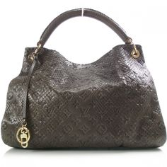 This is an authentic LOUIS VUITTON Python Artsy Gris.   The exceptional features and superior quality of this Louis Vuitton hobo lend a chic look of relaxed elegance for day or evening.