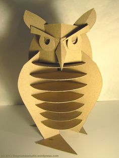 Day 18: Cardboard Owl Sculpture - Created by Tanya Green: