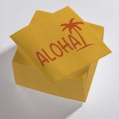 Serviettes en papier orange et rouge Aloha
