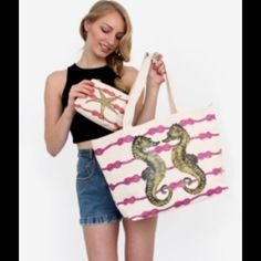 """Sea Horse Canvas Beach Tote Bag. ❤️HP❤️ This spacious tote fits comfortably over the shoulder and is perfect for carrying all of your beach essentials. Has 3 inner pouch pockets. D ring on the side for clipping keys. Inner snap closure. 100% cotton canvas outer, nylon lining with T/F logo pattern. 13.5"""" H x 29.5"""" W x 6.5"""" D. Retails for $75. Comes to you in its sealed packaging with tags attached. Smaller pouch not included. Thursday/Friday Bags Totes"""