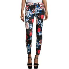 7 For All Mankind The Mid-Rise Ankle Skinny Jeans ($150) ❤ liked on Polyvore featuring jeans, peony floral, cropped skinny jeans, 7 for all mankind skinny jeans, white skinny leg jeans, white cropped skinny jeans and skinny ankle jeans