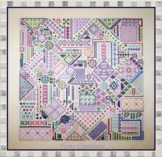 Use cross stitch square patterns, set at and angle. This would be a great pillow, almost like a crazy quilt in cross stitch.