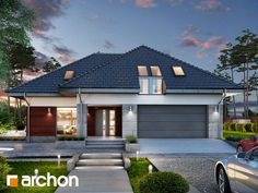 Dom w jarzębinach Residential Architecture, House Front, Home Fashion, House Plans, Garage Doors, Sweet Home, Exterior, House Styles, Outdoor Decor