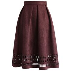 Chicwish Geo Cutout Suede Pleated Midi Skirt in Plum (62 CAD) ❤ liked on Polyvore featuring skirts, purple, geometric print skirt, cut out skirt, red skirt, purple pleated skirt and suede midi skirt