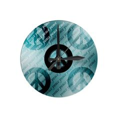 Artsy Peace Signs Round Wall Clock