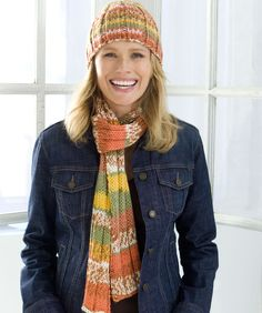Ribs on Auto Stripe Hat and Scarf- i love making this.. great gift set