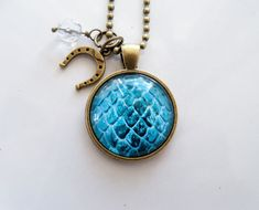 Dragon Egg Necklace  Blue Dragon Egg Pendant  by OxfordBright