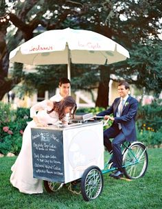 A wedding cake is a must-have, but why not offer guests some more options for dessert? Not only is ice cream a delicious treat, but also, strolling over to a cart is a fun activity for guests to enjoy.