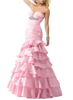 Emmani Women's Sweetheart Mermaid Beading Tiered Trail Prom Dresses Ball Gown Pink 28w. Suit For Womens and Juniors. Material:Taffeta. Please note that the delivery date that you saw is automatically setted by Amazon system, usually it will cost about 15 days for you to get the beautiful dress.However if you need the dress less than 15 days, please contact us before you order the dress,then we will make the dress for you in priority for free,thanks!. All the dresses from us can be Custom...