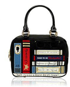 6575655a384db Lulu Guinness Black Library Small Jenny in Black - Lyst Lulu Guinness