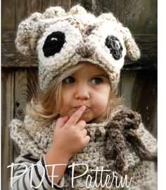 Crochet PATTERN-The Odette Owl Set (Toddler, Child and Adult sizes)--the eyes are not quite as creepy as the Oxford Owl Crochet Bib, Crochet Hats, Velvet Acorn, Knitting Patterns, Crochet Patterns, Owl Hat, Winter Kids, Chunky Yarn, Girl With Hat