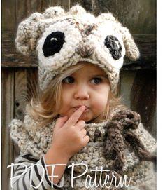 Crochet PATTERN-The Odette Owl Set (Toddler, Child and Adult sizes)--the eyes are not quite as creepy as the Oxford Owl Crochet Bib, Crochet Hats, Velvet Acorn, Knitting Patterns, Crochet Patterns, Super Bulky Yarn, Owl Hat, Chunky Yarn, Crochet For Kids
