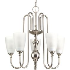Progress Lighting Revive Collection 5-Light Brushed Nickel Chandelier with Shade