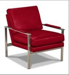Red interiors. Ethan Allen Jericho chair. Ethan Allen furniture. Modern chairs. Metal and leather chairs.