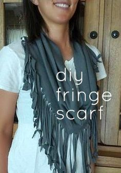 DIY Fringe Scarf Tutorial - from a t-shirt! free and no-sew