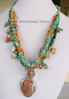 Schaef Designs Orange Spiny Oyster Shell & Turquoise Charm Necklace
