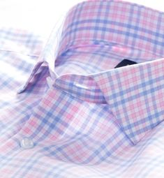 A smooth, lightweight multi check in the perfect shade of pink/white and blue by proper cloth