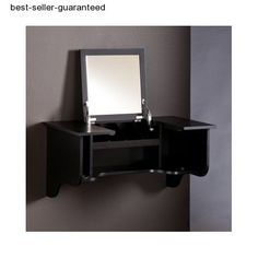 * Fast & Free Shipping *Excellent Customer Care *Easy Returns Modern Vanity Table Wall Mount Mirror Makeup Ladies Furniture Dresser Bed Room Get prepared for your day in style with this minimized, divider mounted vanity ledge. The space-sparing configuration offers sufficient capacity in addition to holsters for hair dryers giving a basic answer for sorting out embellishments, styling apparatuses, adornments, & cosmetics. The smooth, black completion, fold down mirror, & solid divider mount…