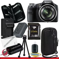 Sony Cyber-shot DSC-HX200V Digital Camera Package 1 by Sony. $478.00. Package Contents:  1- Sony Cyber-shot DSC-HX200V Digital Camera With all supplied accessories 1- 8GB SDHC Class 10 Memory Card 1- Rapid External Ac/Dc Charger Kit   1- USB Memory Card Reader  1- Rechargeable Lithium Ion Replacement Battery  1- Weather Resistant Carrying Case w/Strap  1- Pack of LCD Screen Protectors  1- Camera & Lens Cleaning Kit System  1- Mini Flexible Table Top Tripod 1- Memory Card Wallet