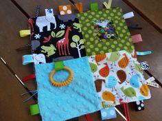 Zoology Mud Brown - Sensory square ribbon blanket- personalization available. $26.00, via Etsy.