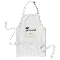 Congratulations Graduate Hat Tassel Blue Gold Adult Apron - home gifts ideas decor special unique custom individual customized individualized