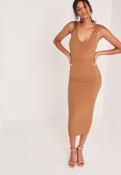 Missguided - Ribbed Midi Pencil Skirt Camel Misguided Fashion, Missguided, Camel, Skater Skirt, Bodycon Dress, Body Con, Body Con Dress, Camels, Bactrian Camel
