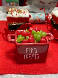 Green and red jelly beans filled up our elf treat pot nicely. North Pole Breakfast, Red Jelly, Jelly Beans, Elf, Pudding, Treats, Green, Desserts, Christmas