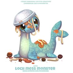 Lock Mess Monster - Word Play by Cryptid-Creations on DeviantArt Cute Food Drawings, Cute Animal Drawings Kawaii, Kawaii Drawings, Dog Drawings, Cute Fantasy Creatures, Cute Creatures, Illustration Mignonne, Cute Illustration, Anime Animals