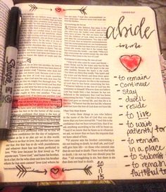 "Simple yet profound. I did a study over the summer called ""What Love Is"" by Kelly Minter and I FELL in love with the books of John. (I discovered bible journaling not long after that :) ) The word ""abide"" is also used over and over in the books and it caused me to meditate on that word...a lot. It is powerful yall. ❤️❤️#illustratedfaith #biblejournaling #abideinJesus"