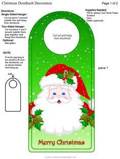 Xmas Decorations, Door Knobs, Elves, Card Stock, Decoupage, Merry Christmas, Shabby Chic, Santa, People