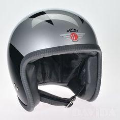 Davida speedster Helmets:  special Black, 3 Silver Lines  Product Code: 90243