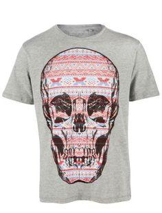Aztec print filled skull t-shirt at New Look