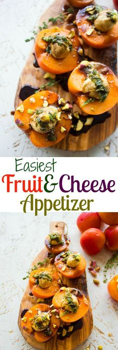Quick Easy Appetizer With Fruit And Cheese. Can't get easier than this! 2 ingredients, and a Balsamic drizzle--use your favorite fruits and cheese combo--many ideas and tips in the recipe! Get this one today for apricots stuffed with bocconcini and balsamic. www.twopurplefigs...