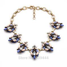 Fashion New Design Vintage Accessories Women Resin Flower Alloy Necklace Choker Necklaces #Affiliate